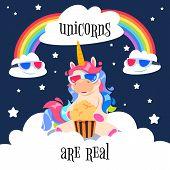 Cute Magical Unicorn With Rainbow. Fantasy Pony On Clouds. Cartoon Unicorn Wallpaper Vector Design.  poster