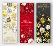 Three Christmas Vertical Banners With Shining Snowflakes, Ribbons, Stars And Colorful Balls. New Yea poster