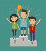 Champion On The Pedestal. Achievement, Awarding Ceremony Concept. Cartoon Vector Illustration poster