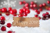 Burnt Label, Snow, Bokeh, English Text Happy 2019 poster