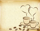 Grunge  background and coffee cups