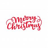 Merry Christmas Handwritten Lettering. Decorative Cursive Script Design. Holiday Typography. poster