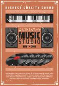 Music Studio Or Shop Of Musical Instruments And Hi-fi High Quality Sound Equipment. Vector Vintage I poster