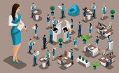 Isometric Set 7, Bank Icons With Bank Employees, Woman Bank Worker, Customer Service Manager. Financ poster