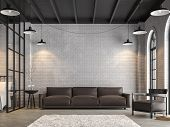 Loft Living Room And Bedroom 3d Render,there Are White Brick Wall,polished Concrete Floor.furnished  poster