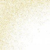 Gold Sparkles Glitter Dust Metallic Confetti Vector Background. Glamorous Golden Sparkling Backgroun poster