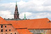 Tile Roofs And Towers Of Historical Copenhagen, Denmark. Architecture Of Scandinavia. poster