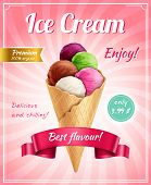 Ice Cream Poster Advertising Composition With Frame Editable Text Captions And Realistic Image Of Ic poster