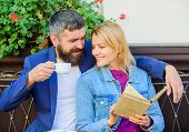 Common Interests. Couple In Love Sit Cafe Terrace. Man With Beard And Blonde Woman Cuddle On Romanti poster