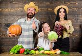 Harvest Festival Concept. Family Farmers With Harvest Wooden Background. Parents And Daughter Celebr poster