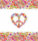 Fashion design with colorful floral summery seamless border and hippie peace flowers symbol for shir poster