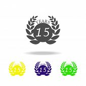 15 Years Anniversary Sign Color Icon. Element Of Anniversary Sign Color Icon. Signs And Symbols Coll poster