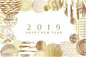 2019 Happy New Year -golden  Art  Backgrounds For Your Template Posters, Banners, And Greetings Card poster