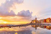 Scenic Mediterranean Riviera Coast. Panoramic View Of Camogli Town In Liguria, Italy. Basilica Of Sa poster