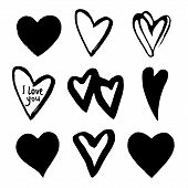 Hearts Set. Element For Design. Abstract Black Hearts. Black Hand Drawn Hearts On White Background.  poster