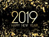 2019 Happy New Year Card, Gold Confetti Particles. 2019 Holiday Card, Banner Or Party Poster Design  poster