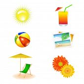picture of beach-ball  - Beach Vector Set From Chaise Lounge - JPG