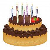 Постер, плакат: День рождения торт с с клубникой и цветные свечи изолированные на белом фоне вектор Illustrat