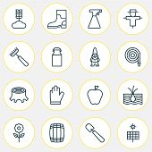 Gardening Icons Set With Garden Gloves, Wheat, Apple And Other Bloom Elements. Isolated  Illustratio poster