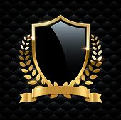 Black Glass Shield With Golden Frame, Golden Laurel Wreath And Golden Ribbon Isolated On Black Backg poster