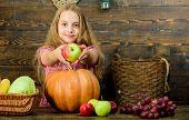 Elementary School Fall Festival Idea. Celebrate Harvest Festival. Kid Girl Fresh Vegetables Harvest  poster