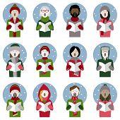 Set Of Twelve Icons Of Multiethnic Adult Christmas Carol Singers poster