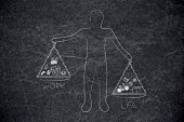 Work-life Balance Conceptual Illustration: Man Holding Unbalanced Scale Plates With Work And Life Ic poster