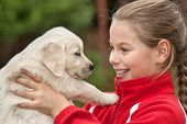 stock photo of cute puppy  - Little girl with a Golden retriever puppy - JPG