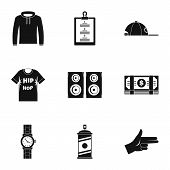 Gangsta Rap Icon Set. Simple Set Of 9 Gangsta Rap Vector Icons For Web Design On White Background poster