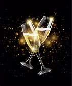 Sparkling Glasses Of Champagne On Black Background, Bokeh Effect poster