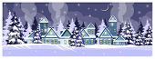 Night Country Scene With Houses And Fir-trees. Winter Night And Snowfall Vector Illustration. Winter poster