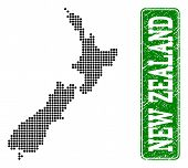 Dotted Map Of New Zealand And Corroded Caption. Vector Green Title Inside Rounded Rectangle And Corr poster