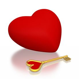 foto of heart shape  - red heart and golden key  - JPG