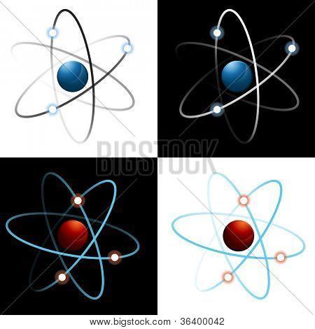 Una imagen de un conjunto de iconos de átomo.
