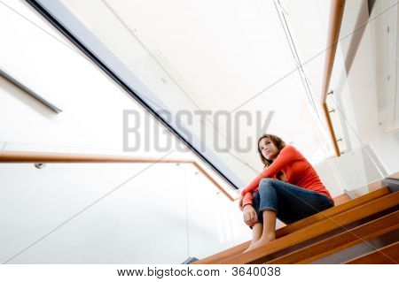 Sitting On Stairs