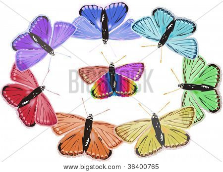 illustration with rainbow colors butterflies