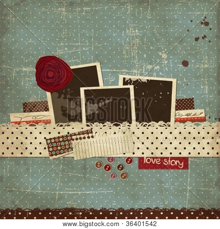 Vintage scrap template with a rose and photo frames