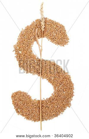 Dollar symbol made from wheat grain