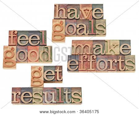 have goals, make efforts, get results, feel good - motivation and success concept - collage of isolated text in vintage letterpress wood type