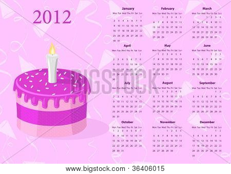 European calendar 2012 with cake, starting from Mondays