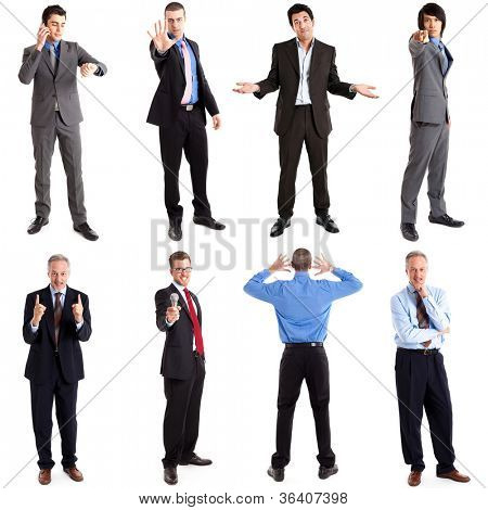 Collection of full length portraits of business people in various expressions