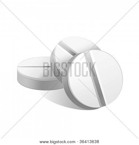 Vector illustration of white pills.Isolated on white background.