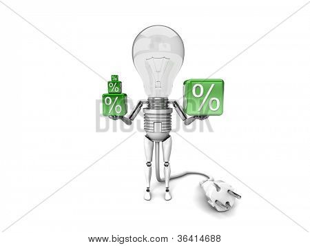"The robot ""bulb"" Holds in a hands percent signs isolated on a white background"
