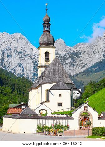 The Ramsau village (St. Sebastian church from 1512 ). Ramsau is situated in the center of the Bavarian Alps in the Berchtesgaden National Park, Germany.