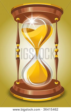 Hourglass in vintage style. Vector image.