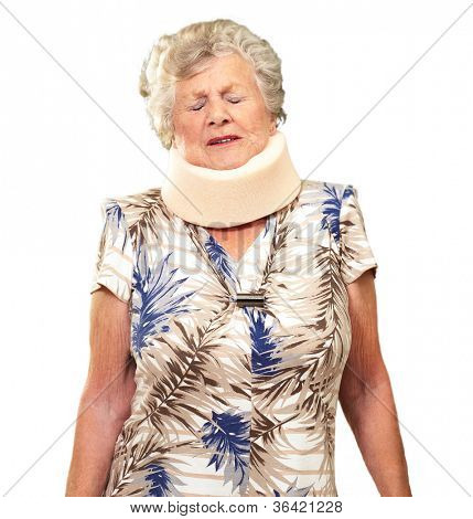 A Senior Woman Wearing A Neckbrace On White Background