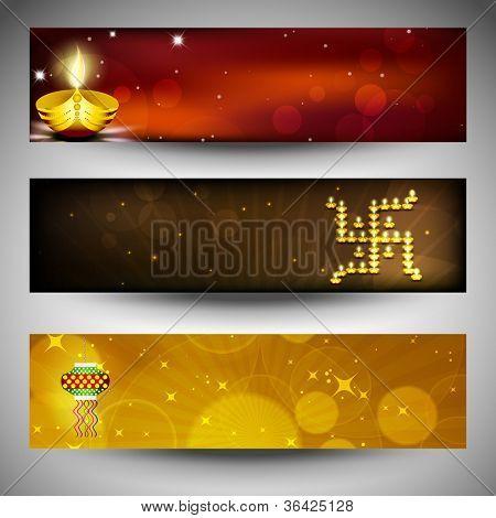 Website headers or banners for for Hindu community festival Diwali or Deepawali. EPS 10.