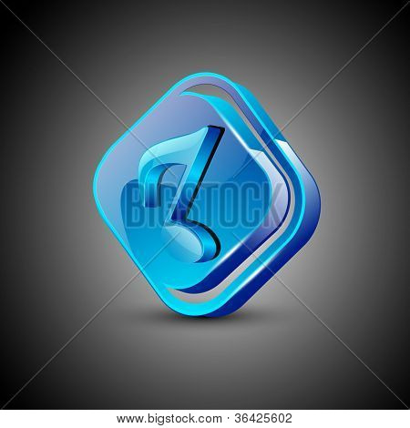 Glossy web 2.0 music icon with musical note. EPS 10.