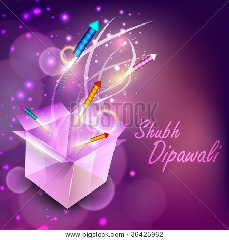Beautiful illuminating fire crackers coming out from box for Hindu community festival Diwali or Deepawali in India. EPS 10.