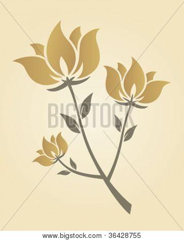 Artistic golden flower branch
